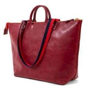 NWT Clare V. Le Zip Sac Leather Tote Oxblood Red